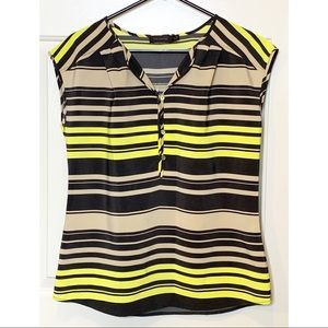 The Limited Tan, Yellow, and Black Sleeveless Top
